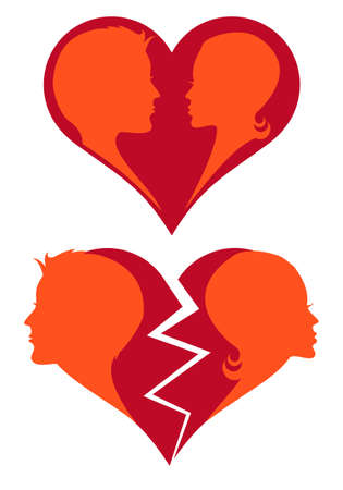 man and woman in love and broken heart Vector