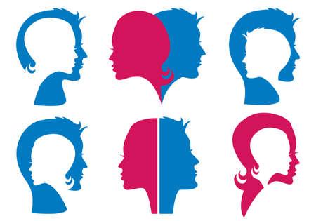 siluetas de enamorados: parejas, hombre y mujer siluetas faciales Vectores