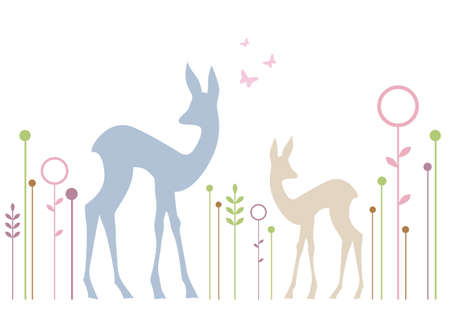 fawn: roe deer and fawn with abstract floral background