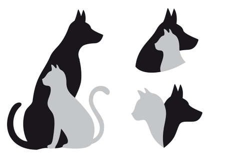 grey cat: cat and dog in friendship, vector illustration