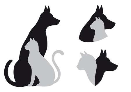 silueta de gato: gato y perro en la amistad, ilustración vectorial Vectores