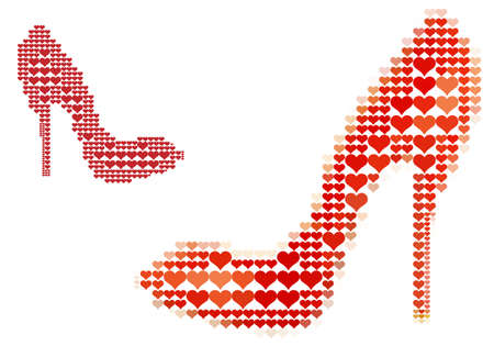 shoe with red heart pattern background Vector