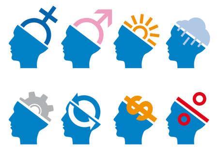gear head: head icon set with symbols