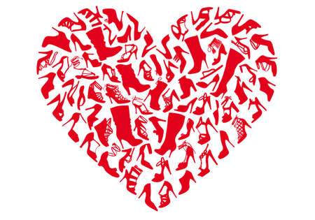 mania: red heart made of shoe silhouettes, vector background