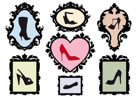 high heel: shoe silhouettes in antique picture frames, vector set