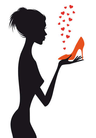 fashion woman with shoe and red hearts Stock Vector - 14596004