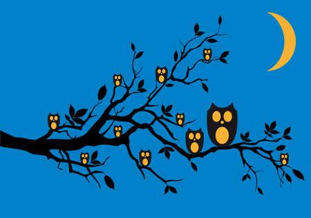night bird: Night owls sitting on tree branch Illustration