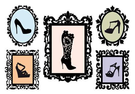 힐: 골동품 그림 프레임에 신발 실루엣, 벡터 설정