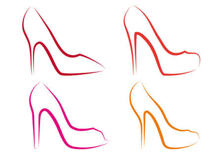 high fashion: high heel shoes line art, vector set Illustration