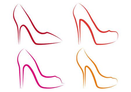 high heel shoes line art, vector set Vector