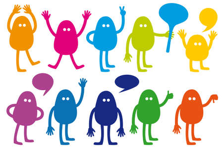 colorful monsters with hand signs, vector set Vector