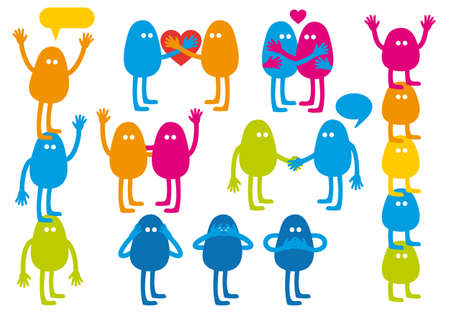 colorful monsters with emotions, vector set