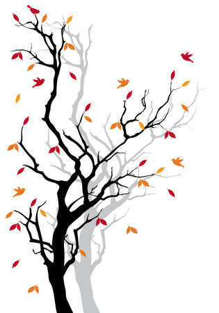 Autumn tree with colorful falling leaves, vector background Illustration