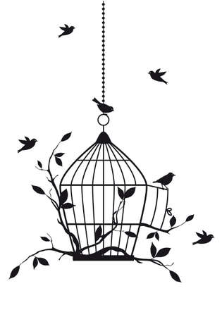 oiseau dessin: oiseaux libres avec cage ouverte, fond vecteur Illustration