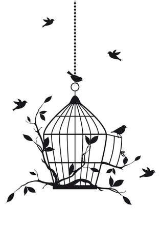 uccelli su ramo: uccelli liberi con gabbia aperta, sfondo vettoriale