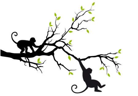 silueta mono: mono colgando de rama de �rbol Vectores