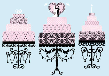 set of patterned wedding and birthday cakes Vector