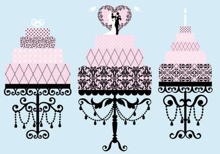 black wedding couple: set of patterned wedding and birthday cakes