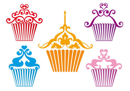 pink cake: set of stylized cupcakes designs