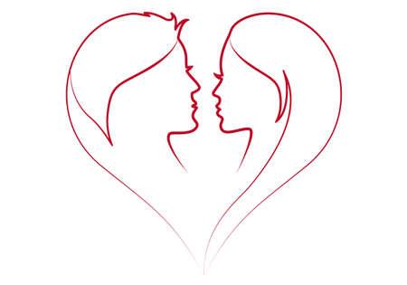 visage femme profil: l'homme et de la femme en silhouette coeur rouge Illustration