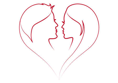 male face profile: man and woman in red heart silhouette Illustration
