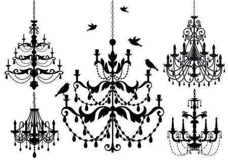 lamp silhouette: antique chandelier set