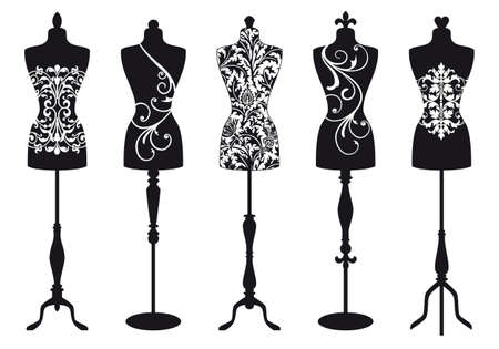 boutiques: set of stylish fashion dress forms Illustration