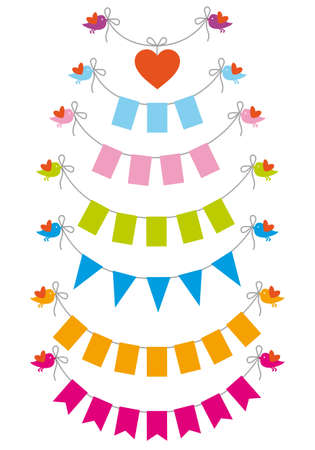 pennants: bunting flags with cute baby birds