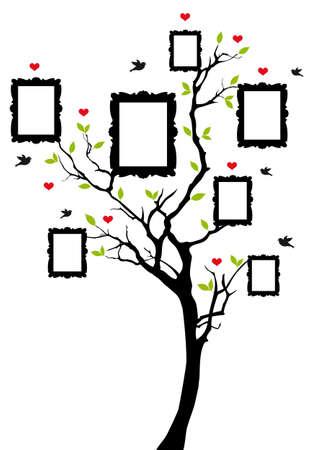 birds in tree: albero genealogico con cornici, illustrazione
