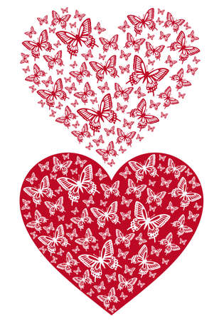 stencil art: red butterfly heart, background illustration