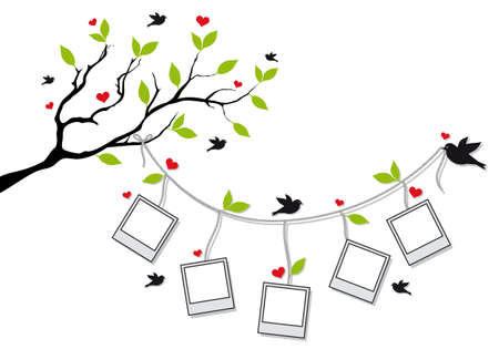 strings: tree branch with blank photo frames and birds