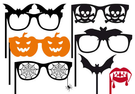 spider net: halloween photo booth props on a stick, vector set