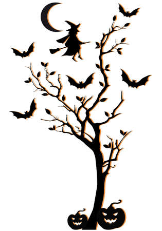halloween witch: halloween tree with witch and bats, vector background Illustration