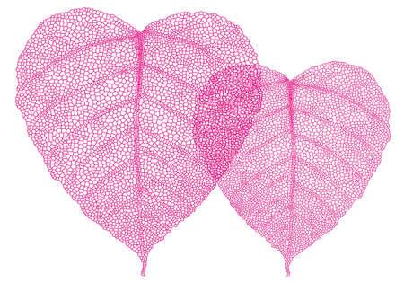 reticular: heart shaped red skeleton leaves, vector background illustration
