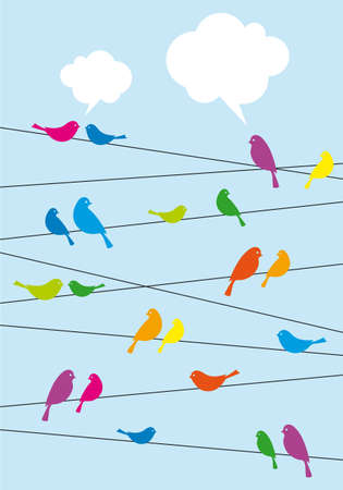 cartoon birds: birds sitting on wire with speech bubbles