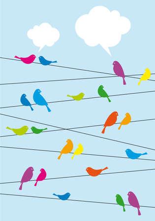 pajaro azul: p�jaros que se sientan en el alambre con las burbujas del discurso