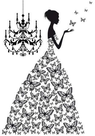 vrouw met vlinders en vinatge kroonluchter