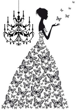 woman with butterflies and vinatge chandelier Illustration