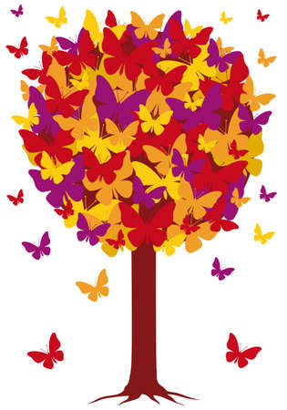 backdrop: autumn tree with colorful butterfly leaves