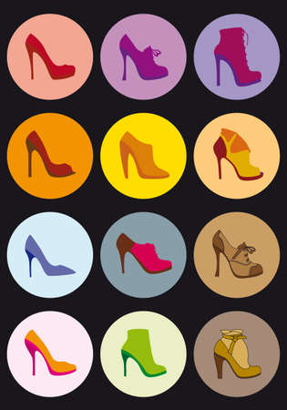 high heels: shoe silhouettes in color dots Illustration