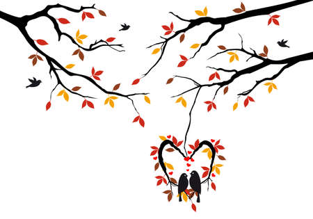 birds sitting on autumn tree in heart shaped nest Illustration