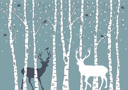 berken bomen met vogels en herten