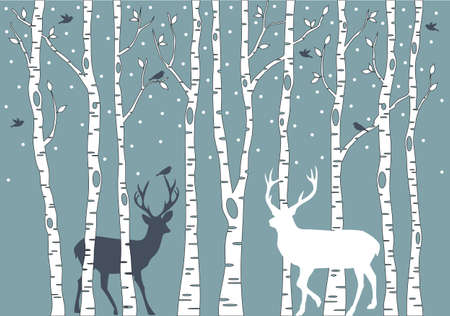 birch trees with birds and deer Illustration