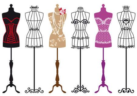 mannequin: insieme di forme eleganti abiti di moda