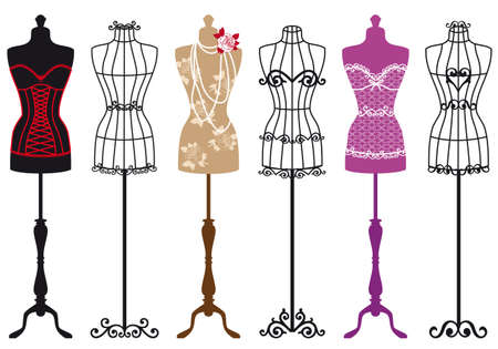 closets: set of stylish fashion dress forms Illustration