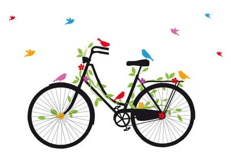 reise retro: Jahrgang Fahrrad mit Vögeln, Blättern und Blüten
