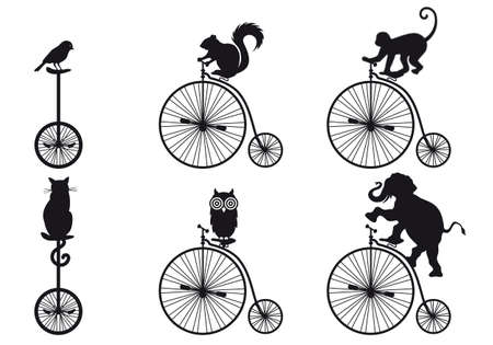 isolated squirrel: vintage bicycle with animals Illustration
