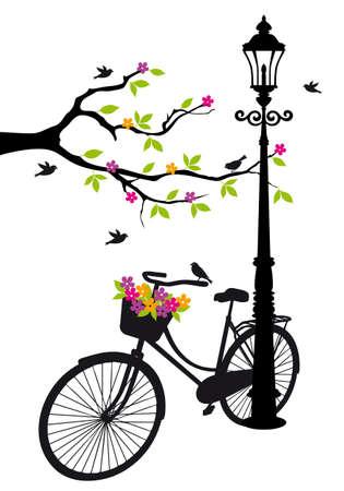 уличный фонарь: старый велосипед с лампой, цветы и деревья Иллюстрация