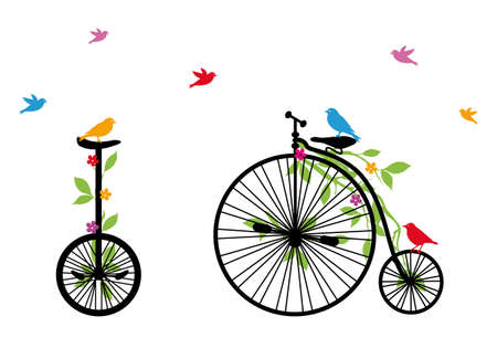 bike riding: birds on vintage bicycle with flowers and leaves, vector illustration