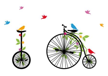 bicicleta retro: pájaros en bicicleta de la vendimia con flores y hojas, ilustración vectorial